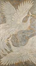 American School 20th Century Decorative Panel featuring Two Mythological Birds