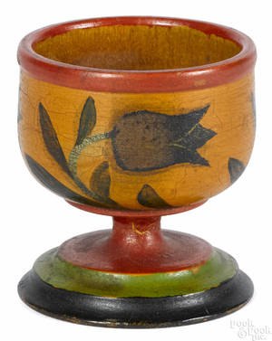 Pennsylvania turned and painted egg cup late 19th c