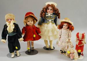 Five Bisque Head and Composition Dolls