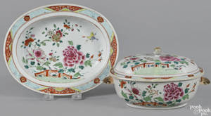 Chinese export porcelain famille rose sauce tureen and undertray 19th c