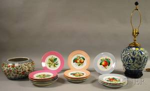 Fifteen French Handpainted Porcelain Fruit Plates a Chinese Export Porcelain Bowl and Modern JarformTable Lamp