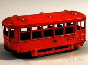 Kingsbury Painted Pressed Metal No 782 Street Trolley Car