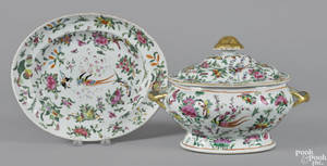 Chinese export porcelain famille rose tureen and undertray 19th c