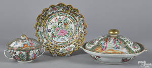 Chinese export rose medallion covered warming dish