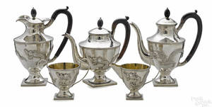 Chinese fivepiece silver tea service ca 1910