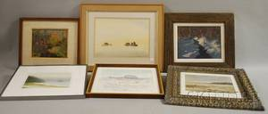 Six Framed Landscape Views Susan Grisell American 20th21st Century Winter Stream