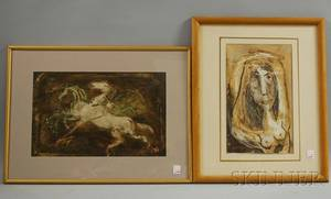 Arthur Zaidenburg MexicanAmerican 19031990 Two Framed Mixed Media Works on Paper Study of a Nude Woman