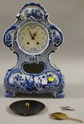 Delft Blue and White Porcelain Mantel Clock
