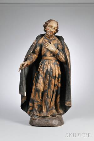 Polychrome Painted and Giltgesso Carved Wood Figure of a Saint