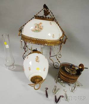 Late Victorian Brassplated Metal and Angel Transferdecorated Opaque Glass Hanging Kerosene Lamp
