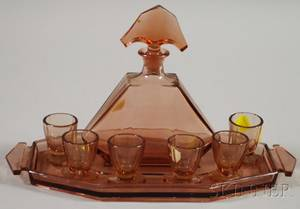 Czechoslovakian Art Decostyle Peachcolored Pressed Glass Cordial Set