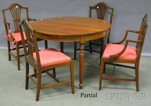Federalstyle Circular Carved Mahogany Dining Table with a Set of Eight Inlaid Mahogany Dining Chairs