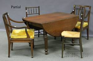Victorian Walnut Dropleaf Table a Set of Four Turned Wood Side Chairs and a Pair of Neoclassical Armchairs