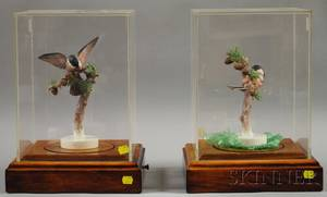 Pair of Dorothy Doughty for Royal Worcester Bone China Chickadees and Larch Figures