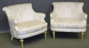 Pair of Italianstyle Brocade Upholstered Painted Wood Armchairs