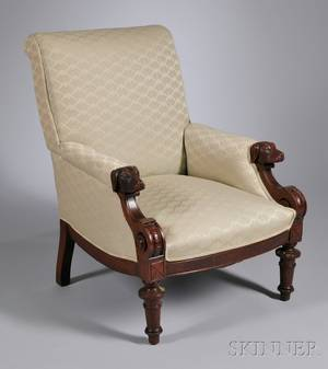 Victorian Renaissance Revival Damaskupholstered Carved Walnut Houndshead Easy Chair