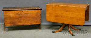 Pine Sixboard Blanket Box and a Colonial Revival Maple Dropleaf Dining Table
