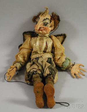 Italian Painted Carved Wood Costumed Marionette