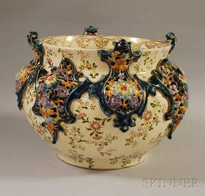 J Fischer Gilt and Enameldecorated Pierced Ceramic Jardiniere