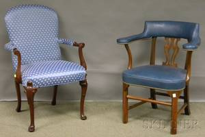 Pair of Southwood Queen Annestyle Upholstered Carved Mahogany Armchairs and a Set of Three KittingerWilliamsburg Restoration Chippend