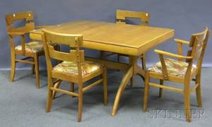 HeywoodWakefield Modern Maple Dining Table and Six Chairs