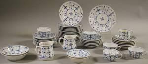 Fortyfourpiece Silesia Blue and White Porcelain Partial Tea Service