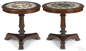 Pair of Italian mahogany center tables with mosaic tops ca 1830