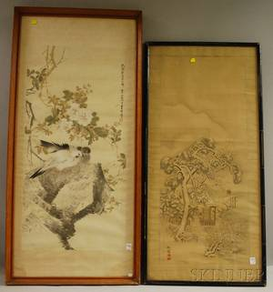 Two Framed Japanese Watercolors on Silk and Paper