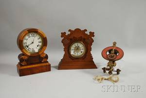 Two Mantel Clocks and a Swiss Wall Clock