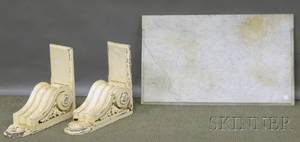 Rectangular White Marbletop Pier Table with a Pair of Whitepainted Scrolling Carved Wood Wall Brackets
