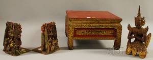 Four Asian Carved and Gold and Redpainted Wooden Articles