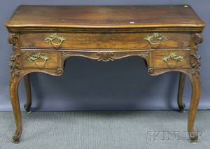 Louis XVstyle Carved Walnut and Walnut Veneer Dressing Table