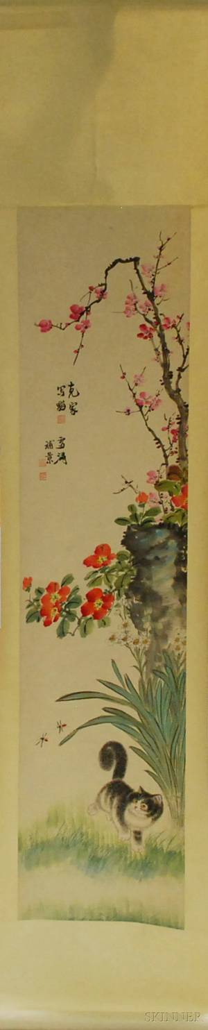 Chinese Ink and Watercolor on Paper Hanging Scroll Depicting Flowers and a Kitten
