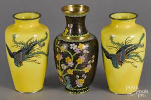 Pair of Chinese yellow ground cloisonn vases