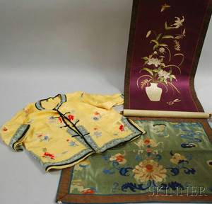 Chinese Embroidered Silk Panel and Childs Jacket and a Japanese Embroidered Silk Scroll
