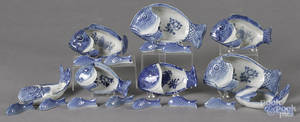 Chinese blue and white porcelain fishform dishes