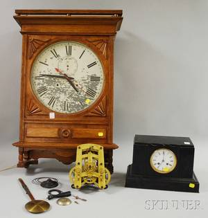 Seth Thomas Oak Wall Clock and French Black Slate Mantel Clock