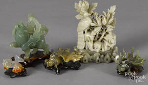 Five Chinese hardstone carvings