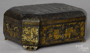 Chinese black lacquer sewing box