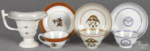 Three Chinese export porcelain cups and saucers