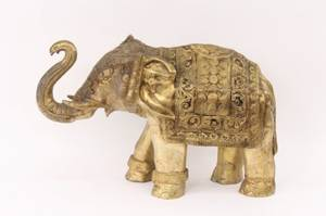 Heavy Brass Ornamented Elephant Sculpture