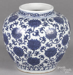 Chinese blue and white porcelain vase with floral decoration