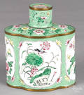 Chinese Canton enamel tea caddy