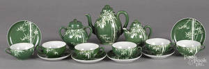 Japanese green glaze porcelain tea service