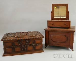 Victorian Walnut Boxform Stool a Mahogany Dressing Mirror on Cabinet and a Baroquestyle High Relief Carved Walnut Document Box