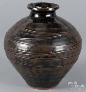 Japanese Hamada style vase with tenmoku glaze