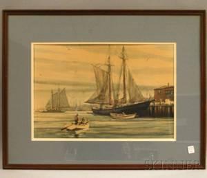 Framed Offset Mechanical Print Depicting a Dock Scene