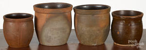 Four Pennsylvania redware pudding crocks