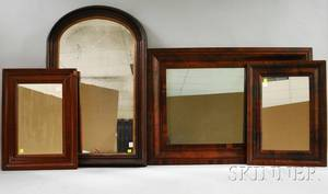 Three Mahogany Veneer Ogee Framed Mirrors and a Victorian Archtop Walnut Framed Mirror