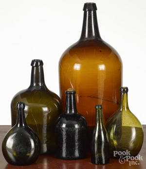 Six blown bottles